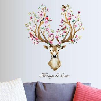 Diy sika cervos cabeça flores adesivos de parede para sala estar arte decalques da parede do vinil para crianças bebê decoração para casa