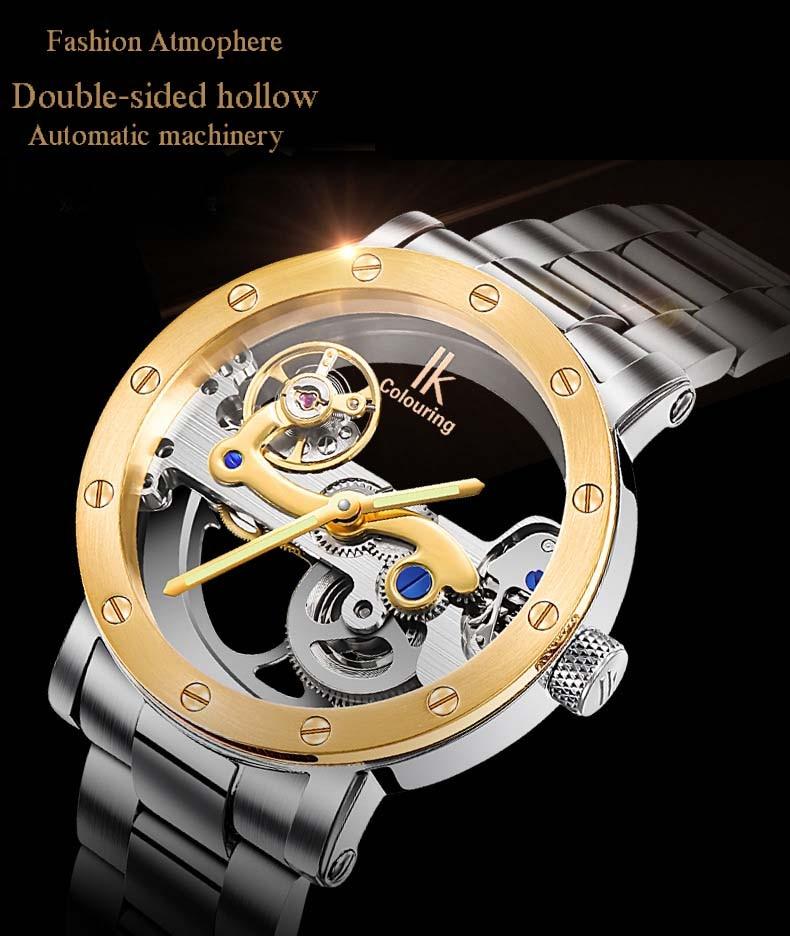 fc0a049b4ff ∞IK reloj mecánico automático hueco de doble cara acero tabla ...