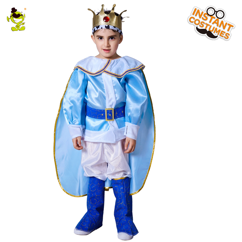 Deluxe European King Costumes Carnival Party Royal Prince Cosplay Suits Children Boys Imperial Leader Role Play Sets