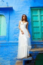 Vestido De Noiva Vintage 2015 Hippie Wedding Dresses Beach Boho Cheap Chiffon Camouflage Dress Vestidos Boda