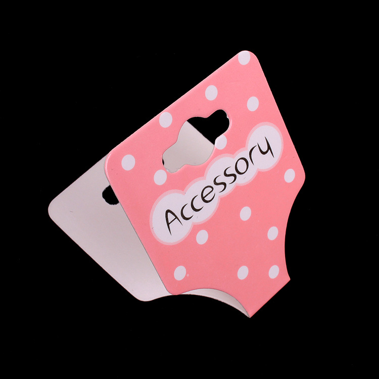 100pcs/lot Kraft Fashion Jewelry Children Hair Accessory Hair Band Card 8.8x3.5cm Pink Paper Card Hang Tag Jewelry Displays