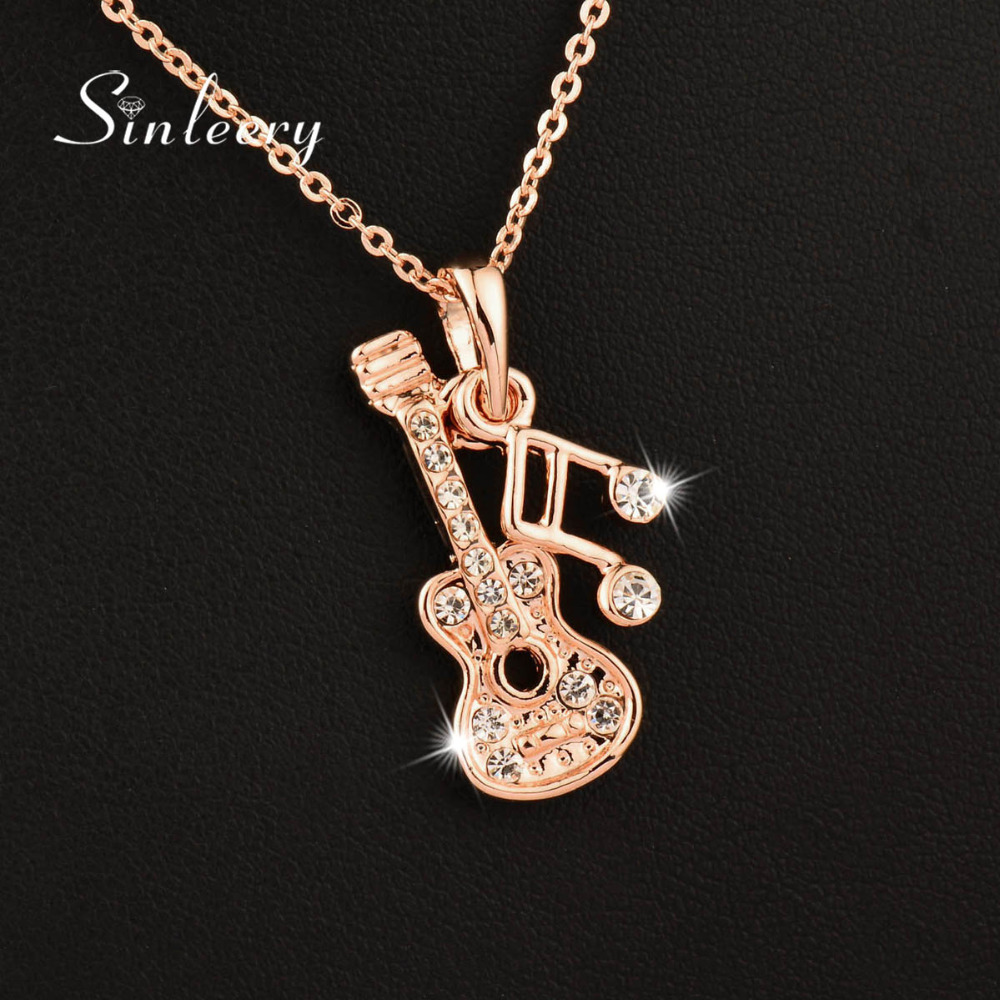 SINLEERY Musical Note Guitar Pendant Necklace Silver Rose Gold Color Chain Brand Jewelry Free Shipping Xl268 SSB
