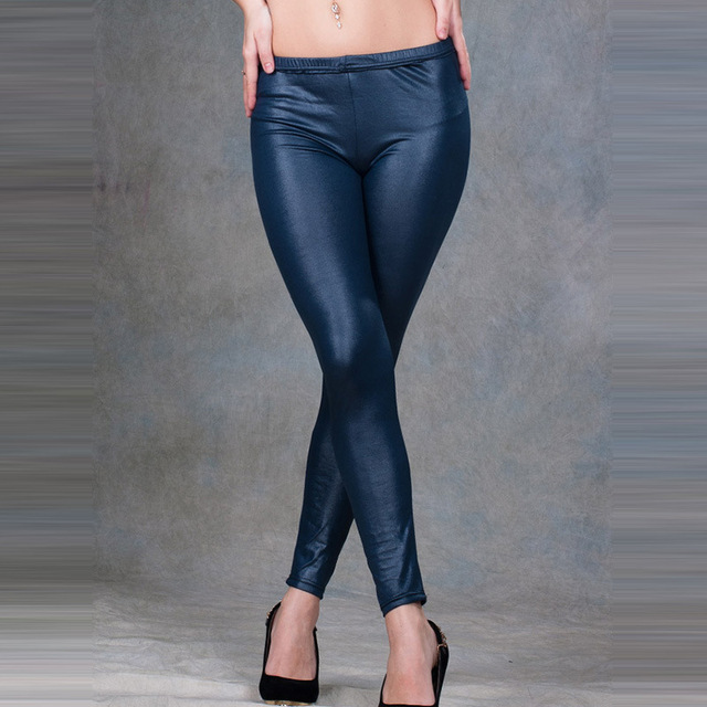 New Arrival Light Slim Leg PU Imitation Leather Soft Pants Female Leggings Fashion Casual Trousers