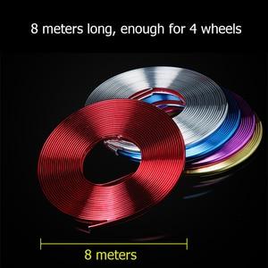 Image 2 - Adesivos coloridos para pneu de carro, 8m, para veículo, roda, jantes de borda, decoração, linha de borracha, moldável proteção de proteção
