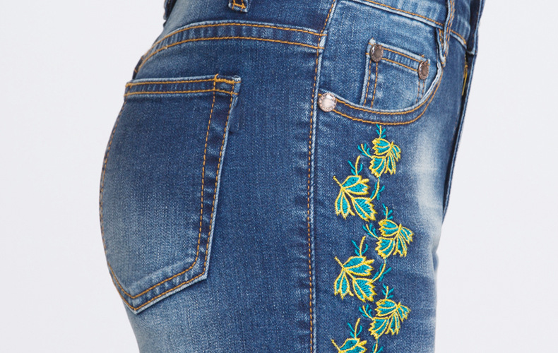 KSTUN FERZIGE Summer Women's Jeans Pencil Pants Floral Embroidery High Waist Stretch Slim Push Up Jeans Elegant Women Ladies Mujer 36 22