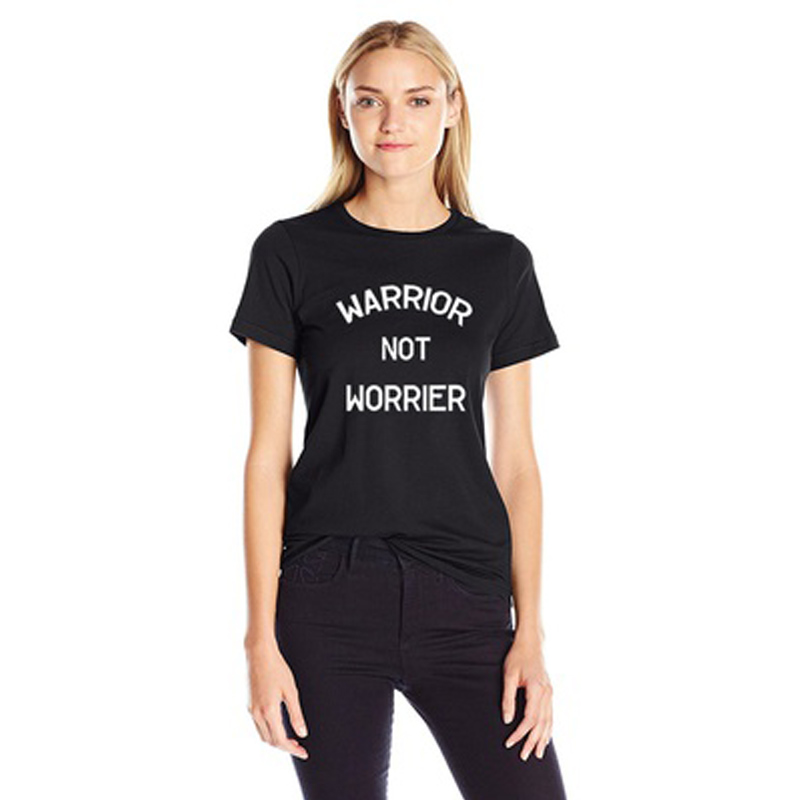Womens WARRIOR NOT WORRIER Letter Print Short Sleeve Casual Fashion Top Tee