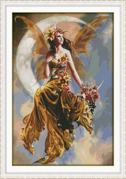 Big Size The Moon Fairy Beauty Painting Counted Cross Stitch Kits 11CT Printed DMC Cross stitching DIY Embroidery Needlework Set