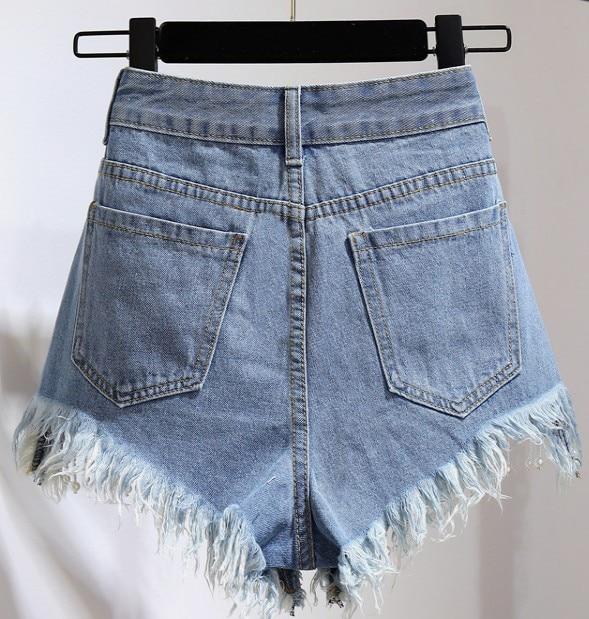 Borla e Alta Denim Pantalones Azul De Mujeres C d Verano Cortos a f Nuevas Estudiantes Manera Flor Del La 2018 Cintura Shorts b Ff8qAxA