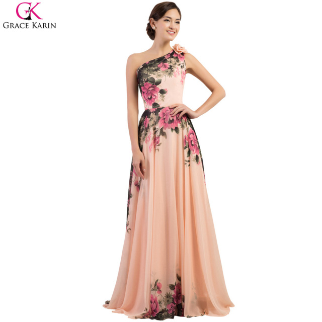 8e3099ed08 One Shoulder Evening Dresses Grace Karin Chiffon Flower Pattern Floral  Print Plus Size Formal Gowns Long Evening Party Dresses