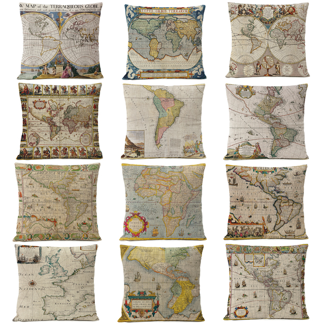 Retro Ancient World Map Pillow Cover Cushion Cover Home Decorative