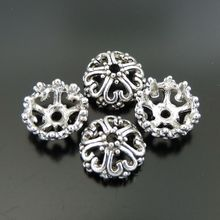 40PCS Hot Fashion Antiqued Silver Zinc Alloy Hollow Flower Receptacle Beads Caps Jewelry Making 39372