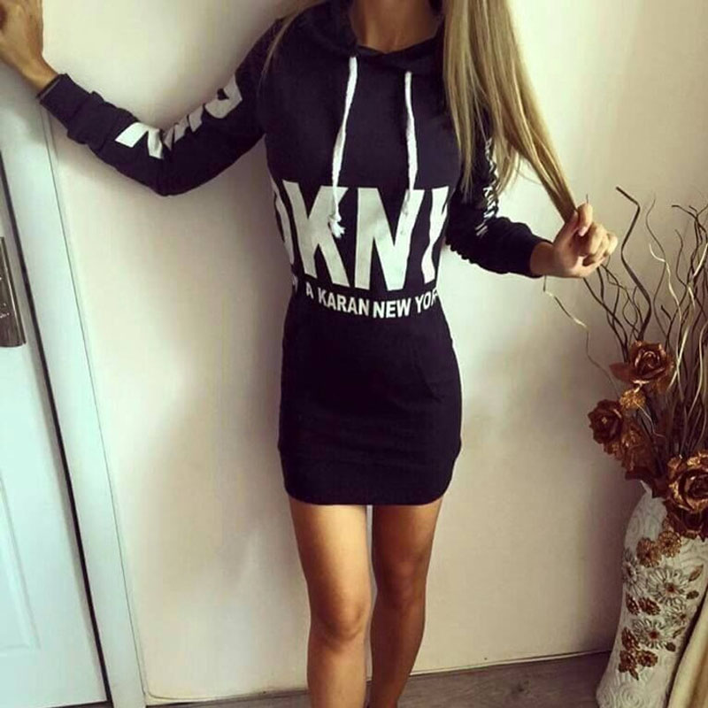 Fall 2017 letter printing slim hooded dress