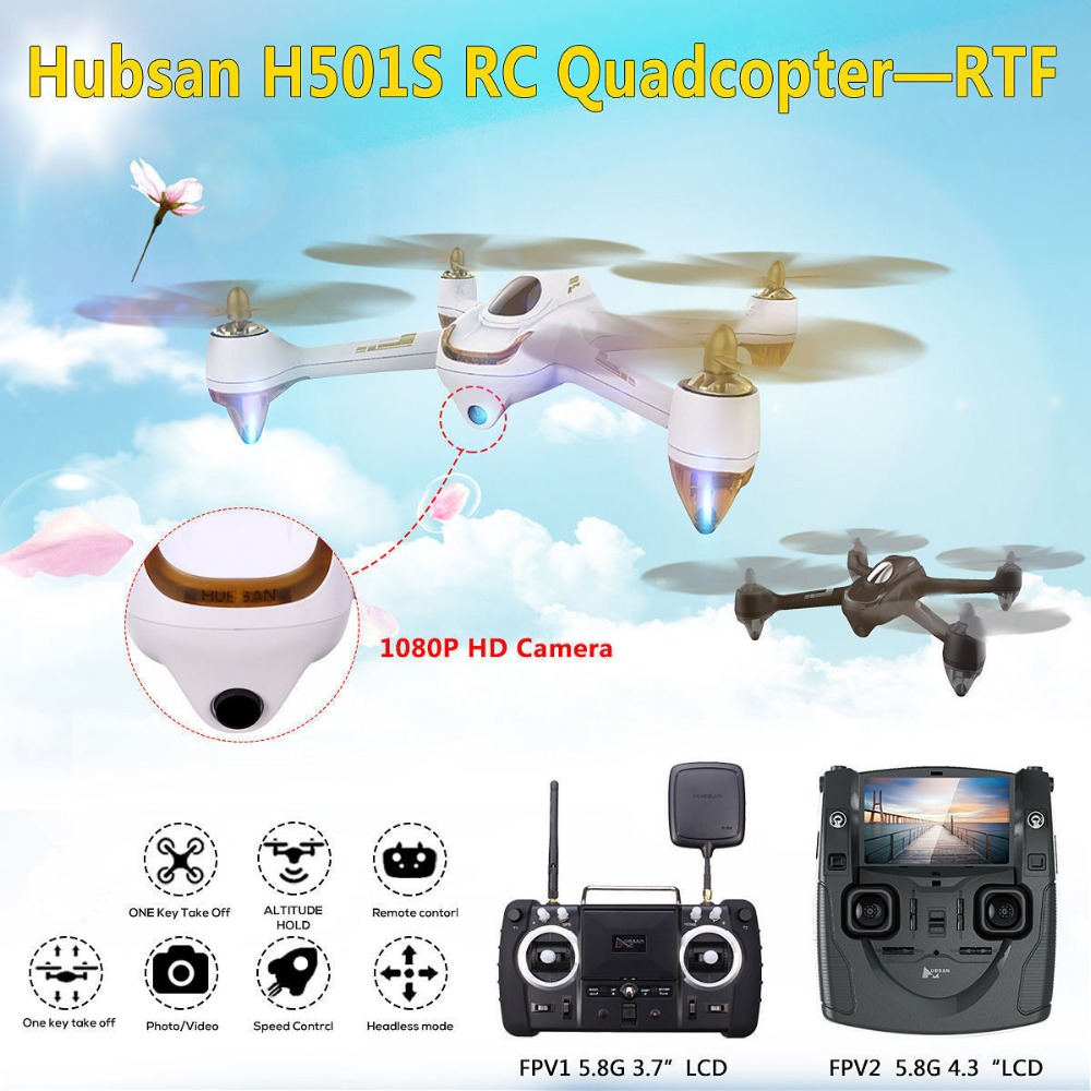 Hubsan X4 H501S X4 Brushless FPV RC Quadcopter Drone Only BNF Aircraft Body with 1080P HD Camera GPS Transmitter Black White цена 2017