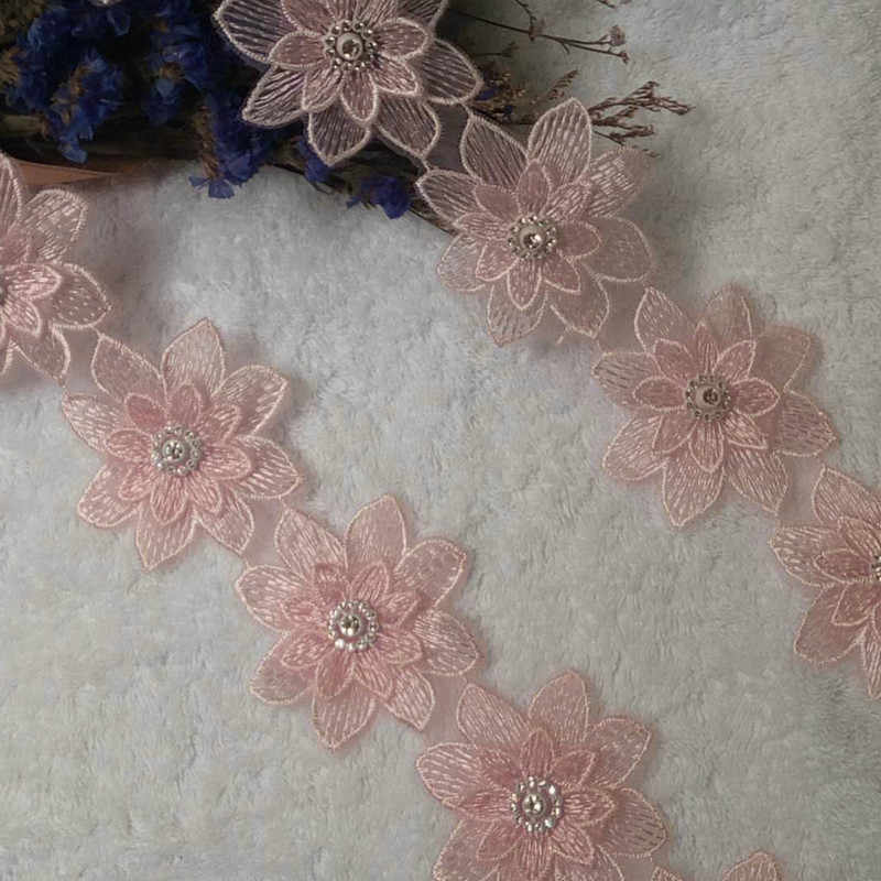 price for 1 yard Nice  pink//white flower embroidery lace trim ribbon