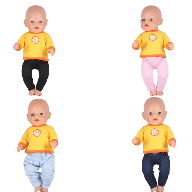 63e70468ac0 4 Styles Accessories For Dolls Yellow Sun Sweater Navy Blue Tights Baby  Born Doll Clothes Fit