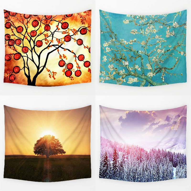 Comwarm Illusion with Reality Tree Flower Scenery Pattern Wall Hanging Mural Plants Printed Gobelin Living Room Home Decor Art