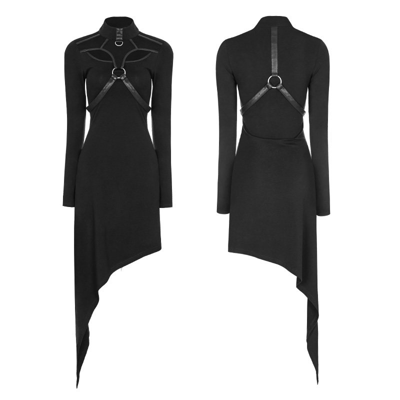 Oblique Knit Coton Rave 2018 Gothique Wq365 Femmes Mode Hem Partie Asymétrique Noir Robe Punk q1xqHvw48