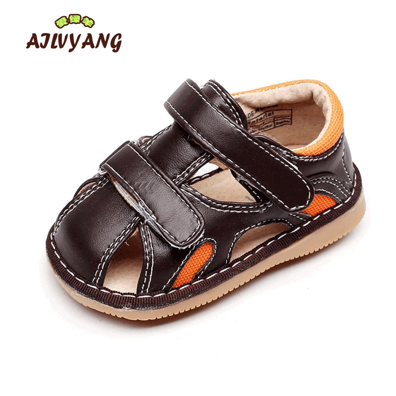 Children Brand Genuine Leather Sandals Baby Boys Summer Anti-slip Sandals Toddlers Hooks Comfortable Shoes X185