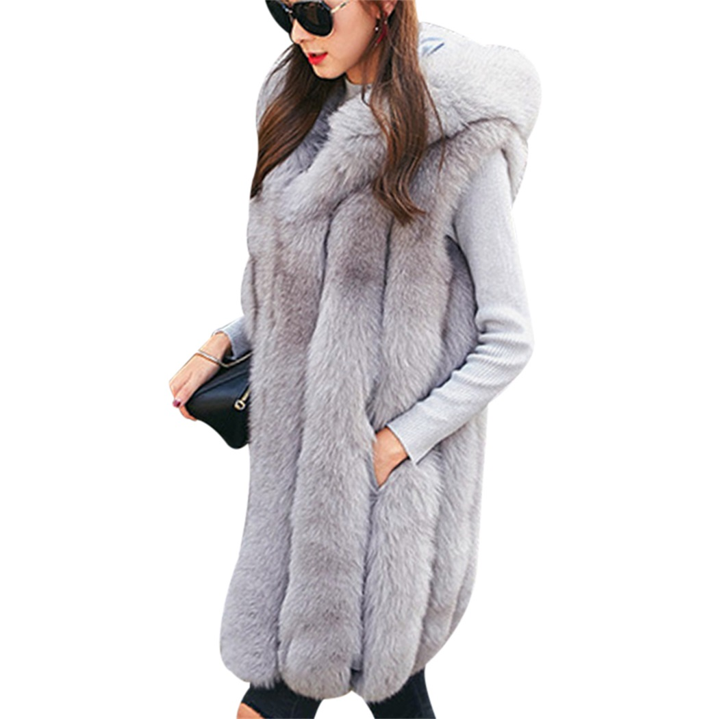 Women Faux Fur vest New Fashion Fur Vest Women In The Long Section 2019 High Quality Autumn And Winter New Products Soft