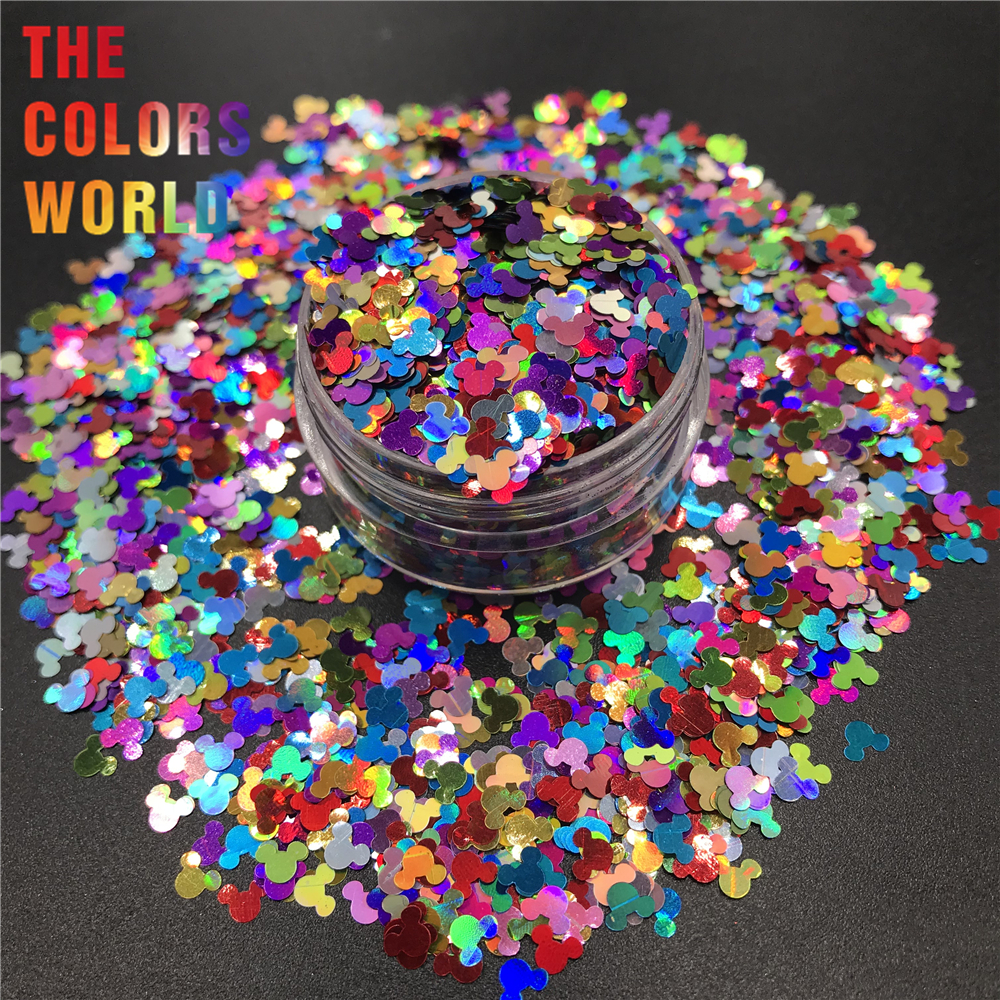 Nail Glitter Modest Ma4-285 Holographic Miix Colors Mickey Mouse Shape Glitter 4.0mm Size Glitter For Nail Art Makeup Diy And Holiday Decorations Beauty & Health