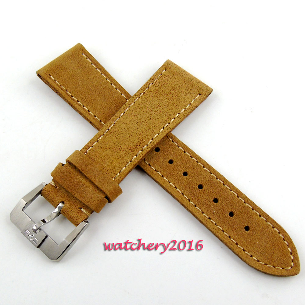 22mm camel leather Buckle style clasp Genuine Leather Watch Strap