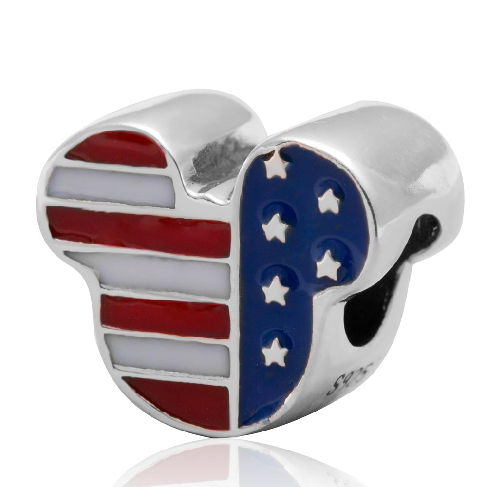 USA Flag Cartoon Mouse Charms Original 100% Authentic 925 Sterling Silver Beads fits Pandora Charms bracelets & Necklaces