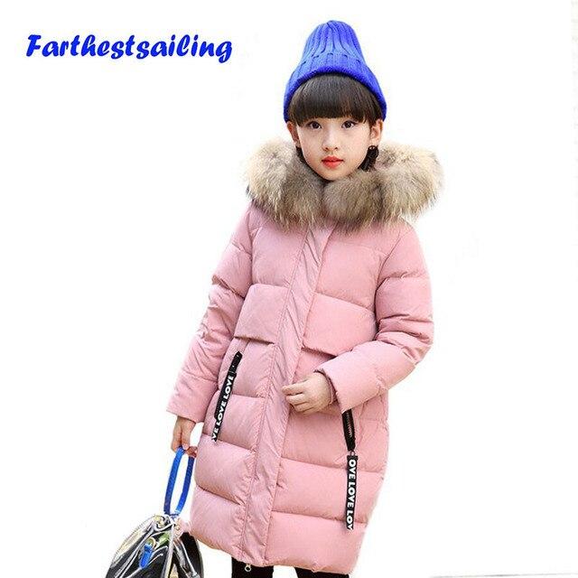Пух куртка для девочек верхняя одежда и пальто Зимняя одежда Комбинезоны парка сделаны из гусиного Перо куртка дети Детское хлопковое вечернее платье в горошек, 15F утка вниз Пальто