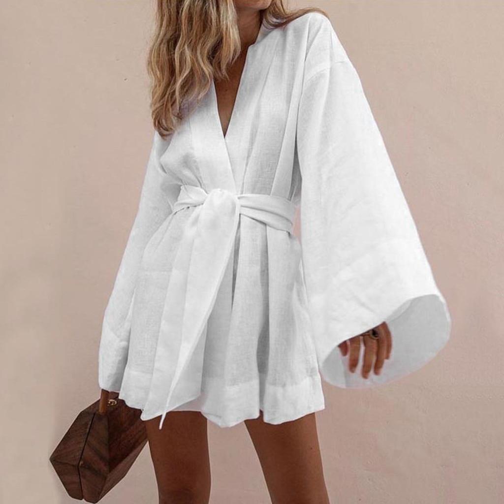 Feitong Women Slim Cotton Linen Dress Summer 2019 Sundress V-Neck Lapel LaceTemperament Lazy Elegant Beach Dress Vestidos Mujer