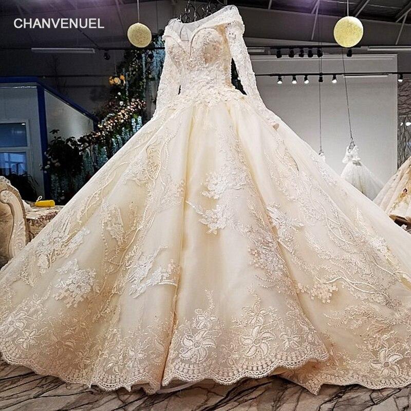 LS09841 réel photos conception originale de mariée robe manches longues grande jupe plus la taille corset retour long train robe de mariée 2018