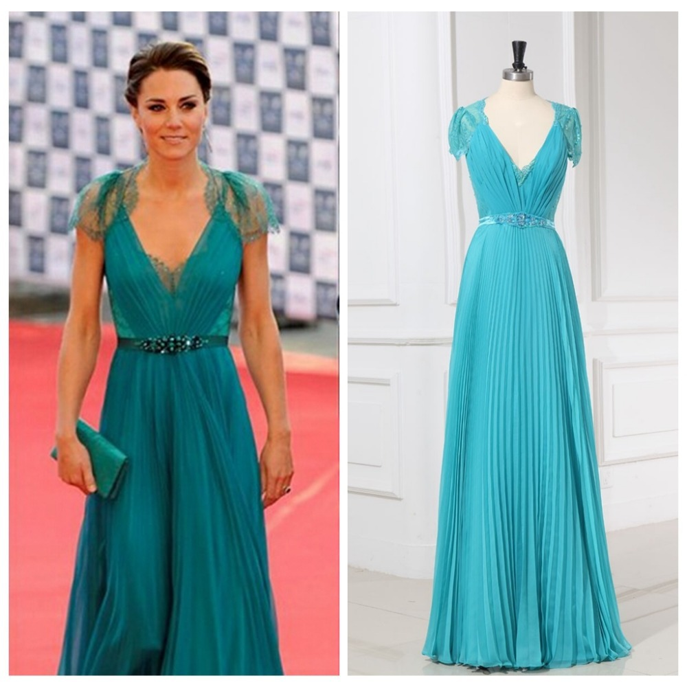 2014 Best Celebrity Dresses A line Deep V neck Cap Sleeves Floor ...