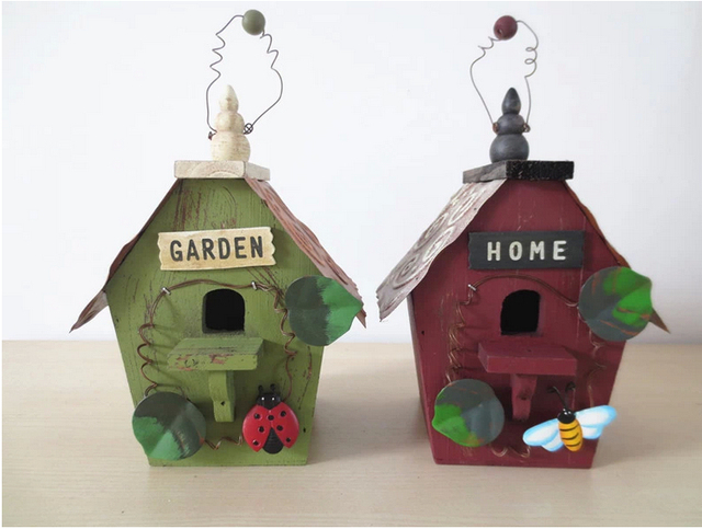 Home Garden Decor Wooden Hanging Ornament Bird House Wall Decoration Room