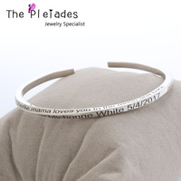 925 Solid Silver Cuff Bangle Engraved Custom Words Twisted Band 4 Side Engraving Bangle