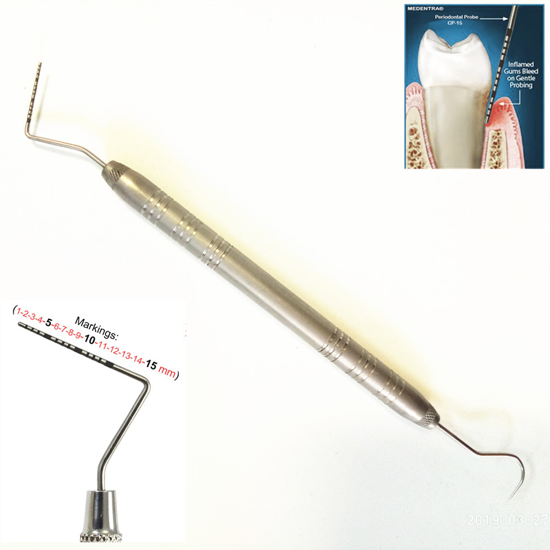 1 Piece Dental Stainless Steel Periodontal Probe With Scaler Explorer Instrument Tool Endodontic