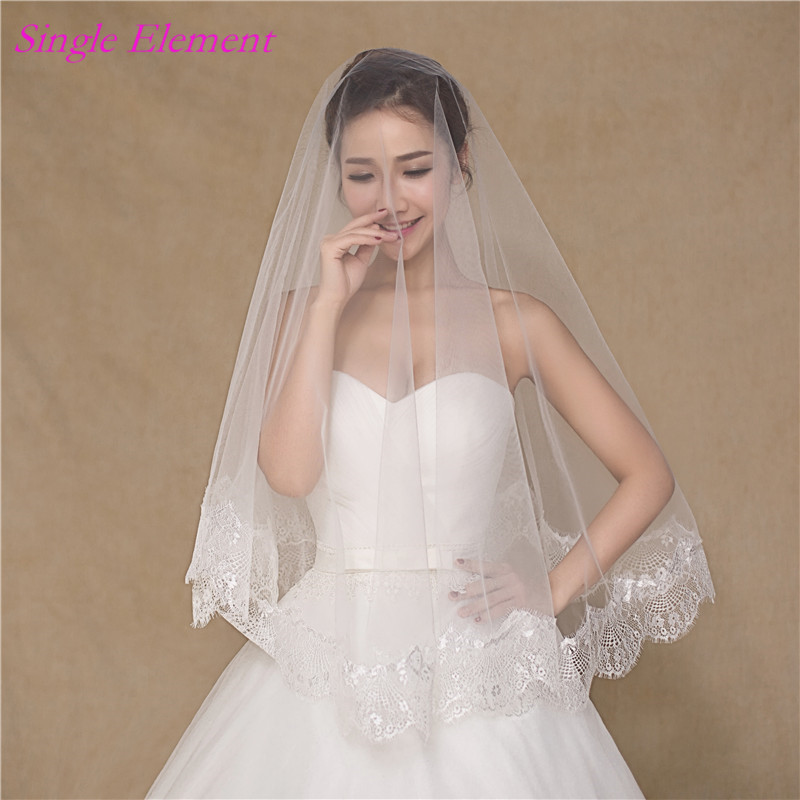 Newest Lace Edge Bridal Veils One Layers Free Size Soft Tulle Veil Wedding no comb 2017 Accessory