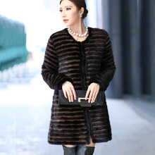 Winter Women s Overcoat Real Knitted Mink Fur Coat Jacket O Neck Black Brown Stripe Ladies