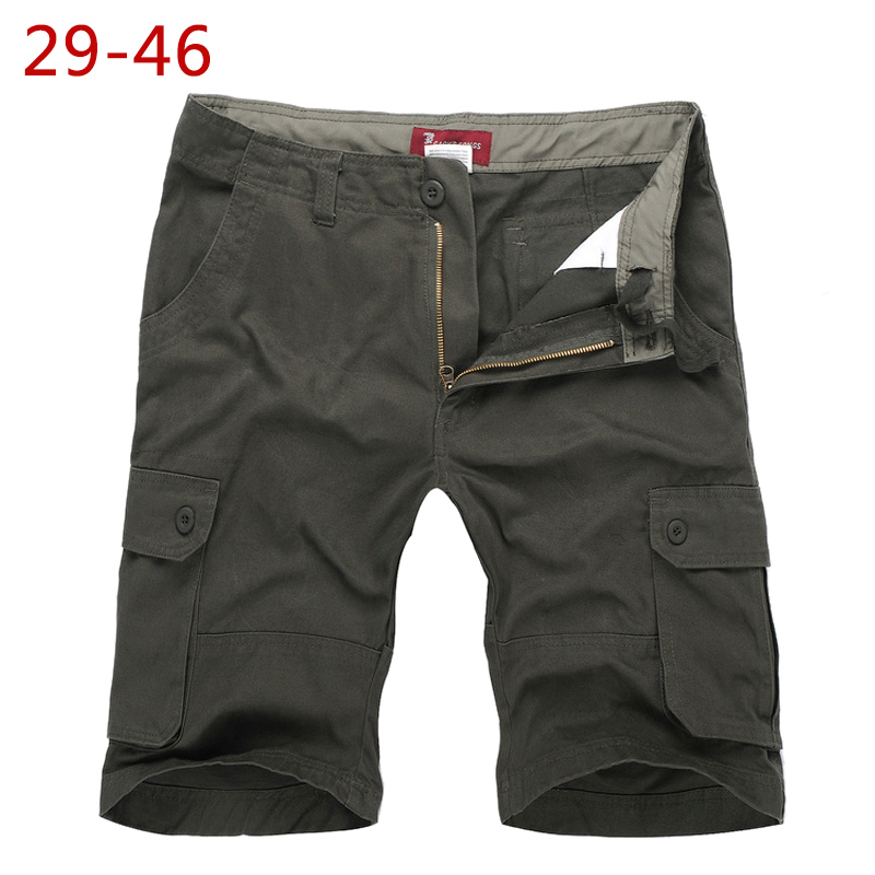 Plus Size 29-46 Leisure Mens Summer Cargo Shorts Cotton High Quality Male Loose Black Shorts Bermuda Short Pants With Pockets