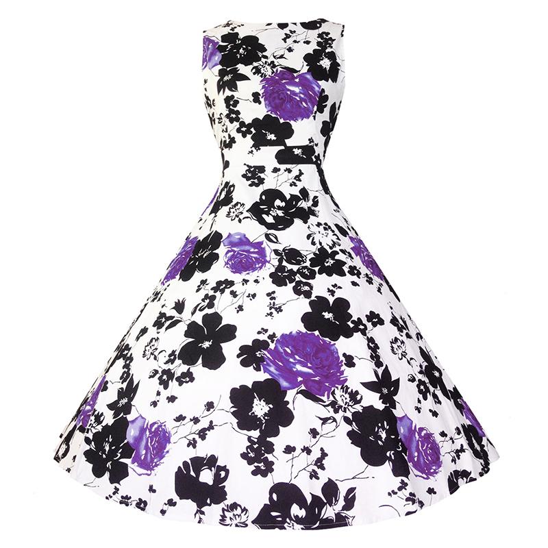 Kostlish Cotton Summer Dress Women 2017 Sleeveless Tunic 50s Vintage Dress Belt Elegant Print Rockabilly Party Dresses Sundress (89)