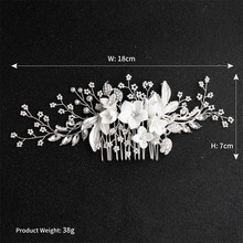 Fashion Handmade White Ceramic Floral Hair Ornaments Bride Comb Hairs Piece Accessory For Women Wedding pure handmade bride wedding hair accessory head piece 2 piece set hanfu costume xiu he fu wedding use hair jewelry page 5