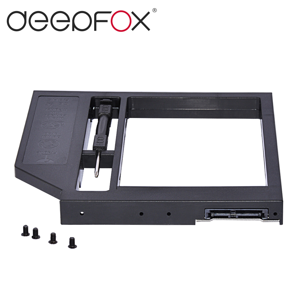 Deepfox Hot 12.7mm Plastic Universal 2nd HDD Caddy 2.5 SSD HDD Case SATA To SATA 3.0 For Laptop ODD DVD/CD-ROM Optibay 2nd hdd caddy sata 3 0 to sata 2 5 ssd hdd case 9 5mm universal aluminum metal material for laptop odd cd rom dvd rom optibay
