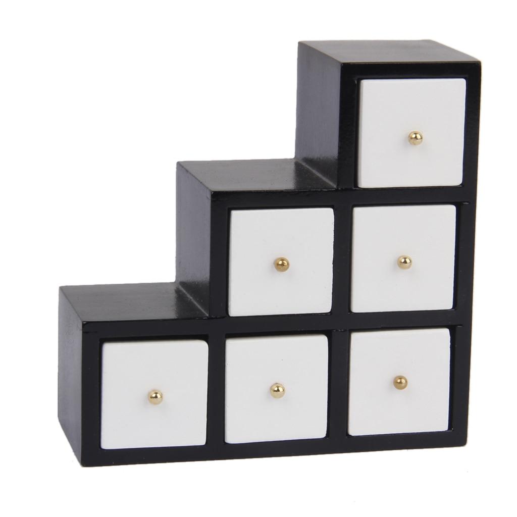 1 12 Dollhouse Miniature Furniture White Wood Step Cabinet 3 Tier Organizer Toys Pretend Play Clic