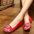 Плоские Ботинки Женщин Балетки 2016 Танец Вышивка Обувь Старый Пекин Черный Красный Ткань Туфли На Платформе Холст Прогулки Повседневная Квартиры