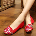 Flat Shoes Women Ballerinas 2016 Dance Embroidery Shoes Old Beijing Black Red Cloth Shoes Platform Canvas Walking Casual Flats