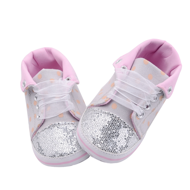 Infant Newborn Baby Girls Boy Glitter Polka Dots Autumn Lace-Up First Walkers Sneakers Shoes Adorable RibbonToddler Canvas Shoes 21