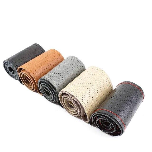 GSPSCN DIY de cuero genuino protector para volante de coche suave antideslizante 100% de piel de vaca de trenza con agujas hilo 36 38 40 cm de tamaño