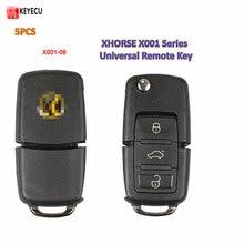 Keyecu 5 Pçs/lote X001 Series Cor Preta Universal 3 Botão do Controle Remoto Key Fob para VVDI Ferramenta Chave