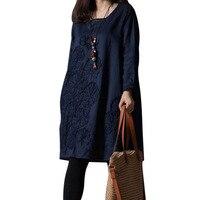 Plus la Taille Femmes Coton Lin Robe Lâche Type O Cou Vintage Design Dames Embroideried Robe Féminine Usage Quotidien Robes M-3XL