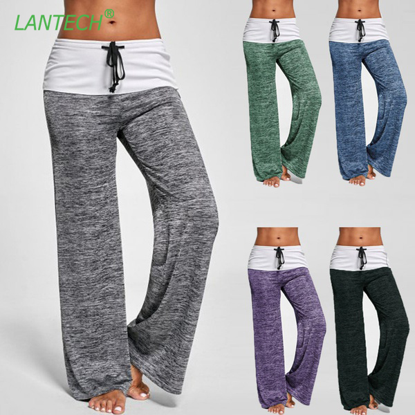 LANTECH Women Yoga Pants Jogging Sports Running Sportswear Fitness Exercise Gym Pants Trousers Clothes Bellbottoms