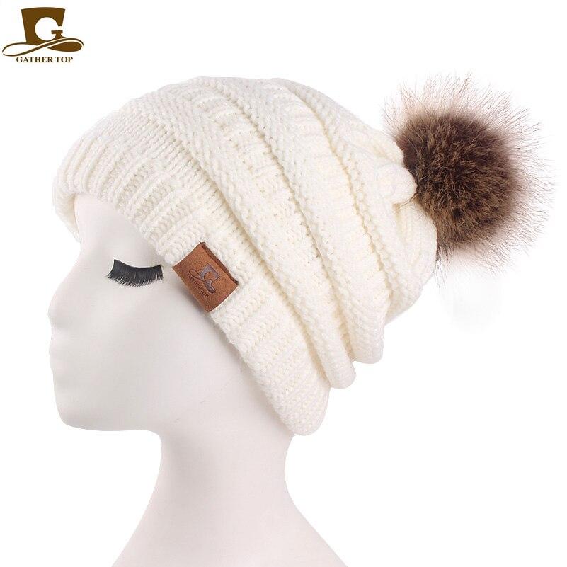 9b75869f8e6 Womens Girls Slouchy Winter Knit Beanie Hats Chunky Hat Bobble Hat ...