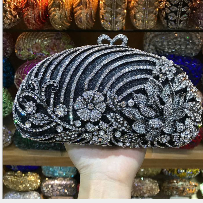 Gold black Luxury Crystal Diamond Evening Clutch Bag bridal Wedding Sparkly Rhinestone Cocktail banquet green Bag pochette Purse luxury red crystal diamond flower women evening clutch bag bridal wedding sparkly rhinestone cocktail banquet bag tyvek wallet