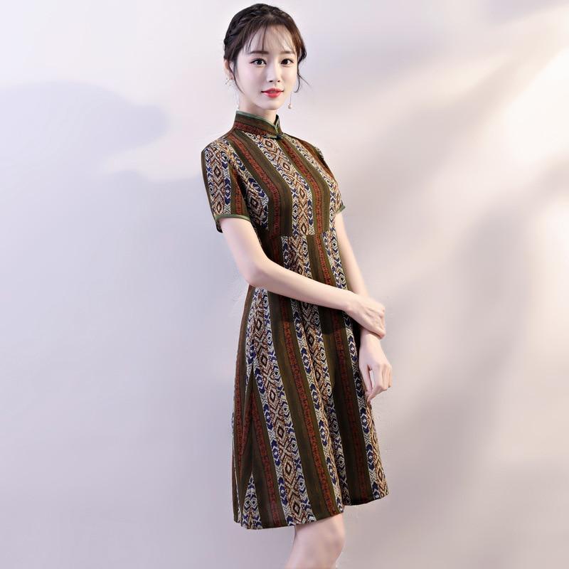 New Arrival Chinese Style Lace Dress Women Slim Short Qipao Mandarin Collar Short Sleeve Cheongsam Size S M L XL XXL